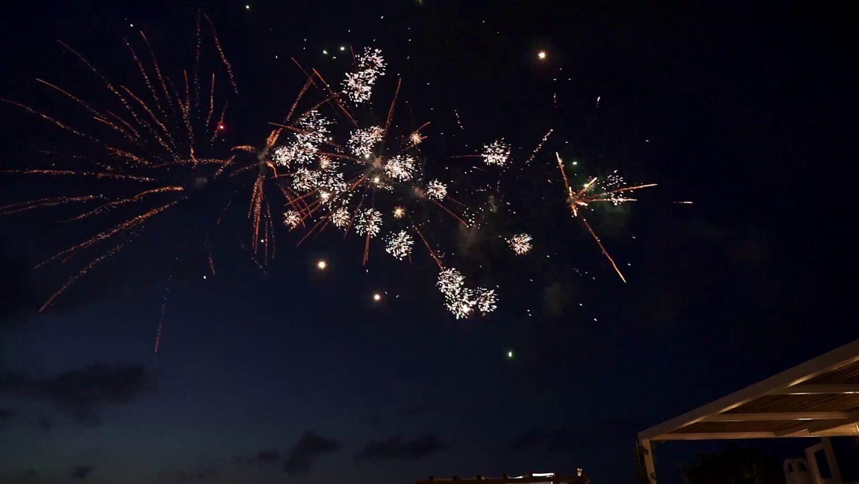 Santorini wedding fireworks - 1