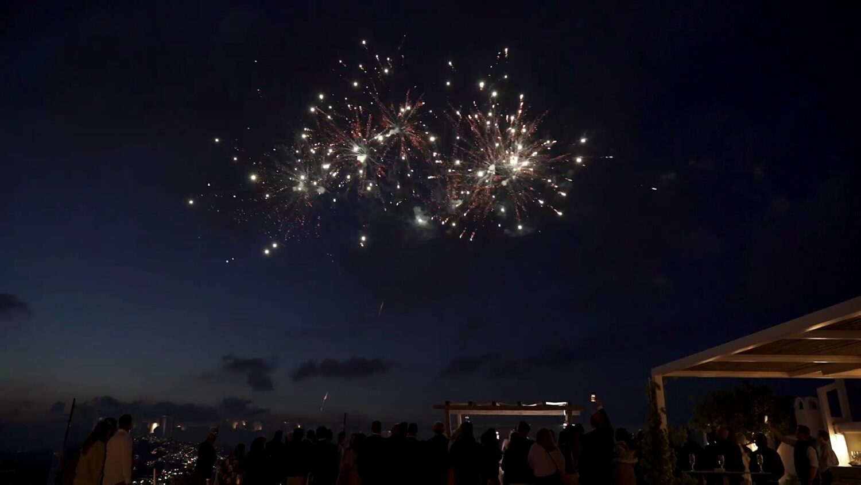 Santorini wedding fireworks - 5