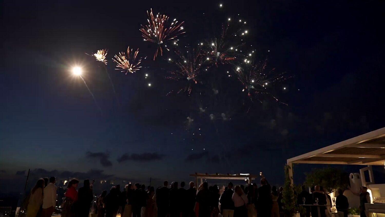 Santorini wedding fireworks - 6