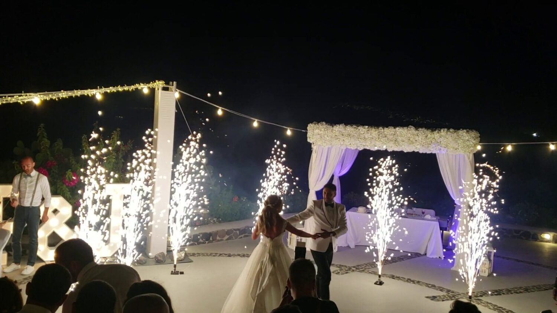 Dancing with fireworks on wedding at Santorini - 1